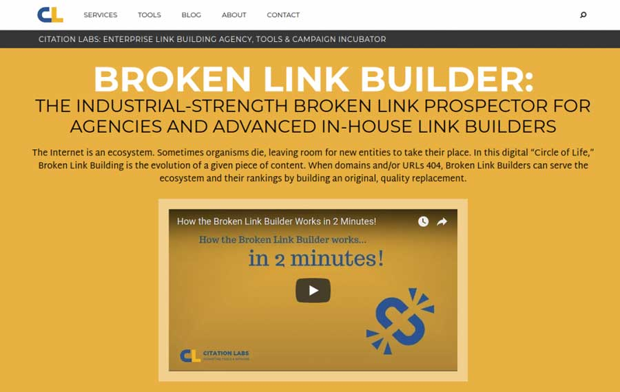 Citation Labs' Broken Link Builder